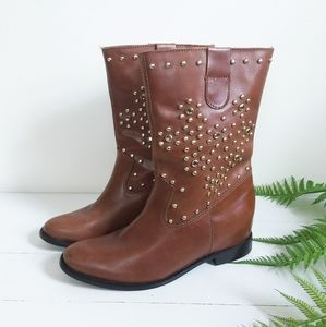 SCHUTZ Brown Leather Boots with Gold Studs